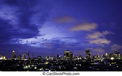 Panorama view of city skyline at night