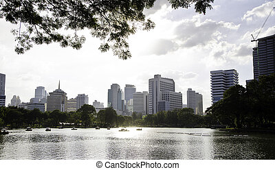 Panorama view of Lumpini Park, bangkok, Thailand.