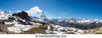 Panorama view of Matterhorn peak in sunny day from gornergrat train station, Zermatt, Switzerland.