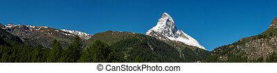 Panorama view of Matterhorn peak in sunny day from, Zermatt, Switzerland.