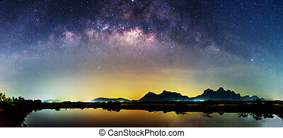 Panorama view of milky way at the lake in night time