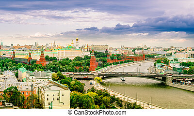 Panorama view of Moscow with Kremlin, Russia. cityscape