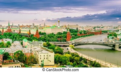 Panorama view of Moscow with Kremlin, Russia. cityscape -...