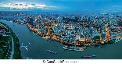 Panorama view of night cityscape in Ho Chi Minh city