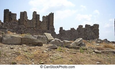 Panorama view of old ancient castle ruins in summer day