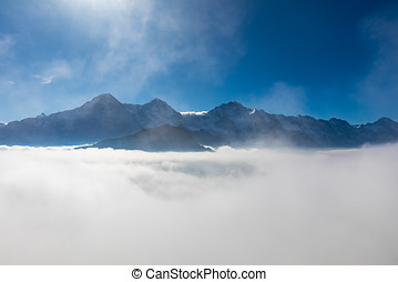 panorama view of swiss alps mountains Eiger, Moench and Jungfrau from Schynige Platte
