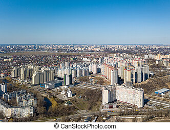 Panorama view of the city in spring on a sunny day - ...