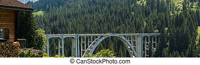 panorama view of the Langwies Viaduct in the mountains of Switzerland near Arosa