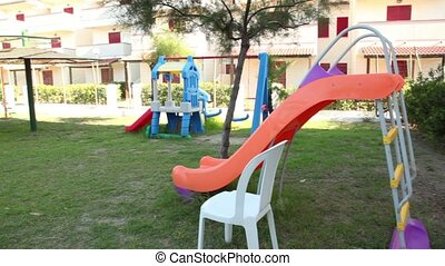 Panorama view of the playground, few objects are shown