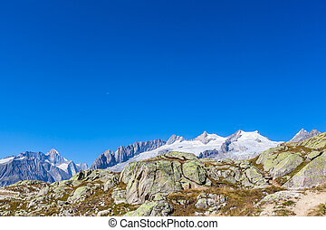 Panorama view of the Swiss Alps