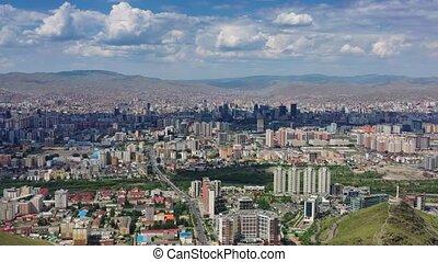 Aerial panorama view of Ulaanbaatar city and Memorial on Zaisan Tolgoi, Mongolia, 4k
