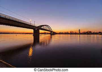 Panorama view on bridge over the river