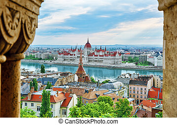 Panorama View on Budapest city from Fisherman Bastion.