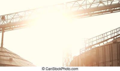 Panorama view on grain factory. Bright sunshine.