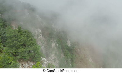 Panorama view on Tahtali mountains from moving cabin of...