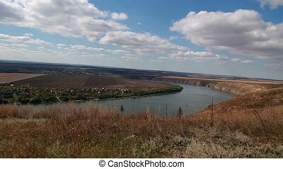 Panorama view on the Dniester river, Ukraine