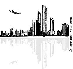 panorama, ville bâtiments