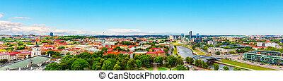 panorama, vilnius, aéreo, lituania