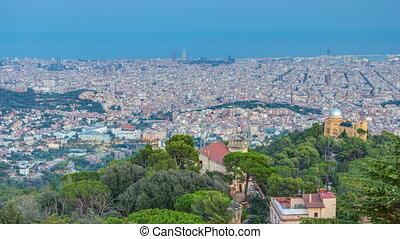 panorama, von, barcelona, tag nacht, timelapse, von, aufstellen, tibidabo., catalonia, spain.