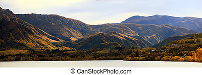 panorama, von, berg, alpin, alps, bereich, an, see, hayes, queenstown, newzealand