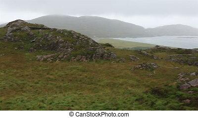 panorama, von, berge, und, grün, valleys.