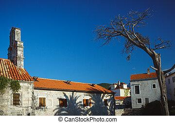 panorama, von, budva, straßen, altes , town., montenegro