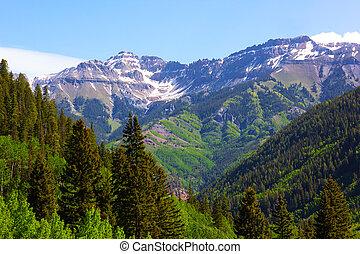 panorama, von, der, berge, umgeben, telluride, in, colorado,...