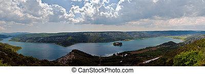 panorama, von, der, krka, fluß, und, visovac, kloster,...