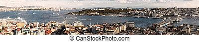 panorama, von, goldenes, horn, golf, und, der, bosphorus, in, istanbul