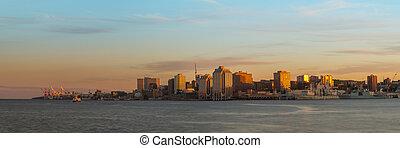 panorama, von, halifax, neuschottland, an, sonnenuntergang