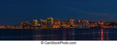panorama, von, halifax, neuschottland, nacht