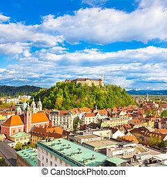 panorama, von, ljubljana, slowenien, europe.