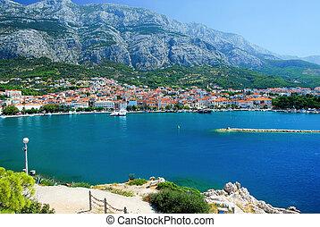 panorama, von, makarska, und, adriatisches meer