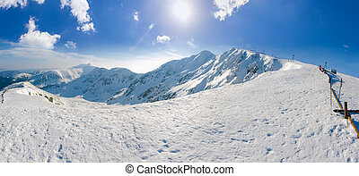 panorama, von, niedrig, tatras, berge, in, winter, sonniger tag