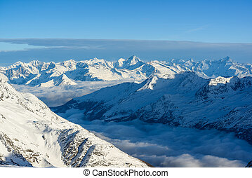 panorama, von, swiss alps, in, wintes