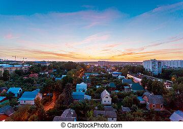 panorama, vue aérienne, de, ville, moscou, à, été