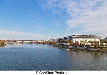 panorama, washington dc, potomac, waterfront., rivière