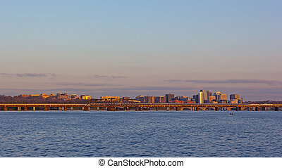 panorama, washington dc, sunrise., rivière potomac, travers