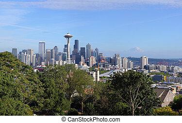 &, panorama, waszyngton, rainier., mt., seattle