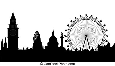 panorama, wektor, -, londyn