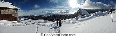 panorama, winter, bergen