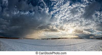 Panorama winter landscape sunbeams