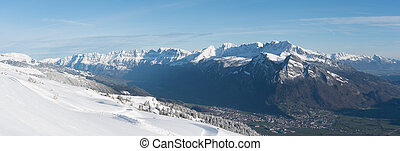 panorama winter mountain landscape in the Swiss Alps