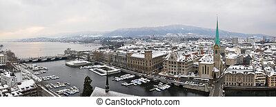 panorama, winter, zurich