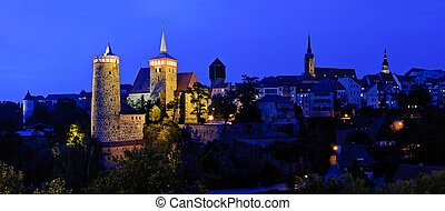Panorama with Bautzen at night
