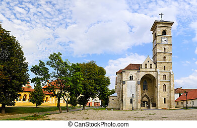 Panorama with catholic church in alba iulia