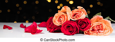 Panorama with different roses