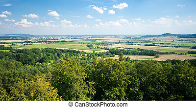 Panorama with forest and open fields