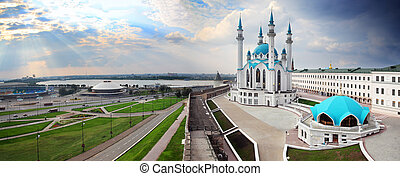 panorama with kul sharif mosque in kazan kremlin russia