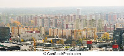 Panorama with modern high-rise residentals in Bratislava